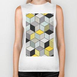 Colorful Concrete Cubes 2 - Yellow, Blue, Grey Biker Tank