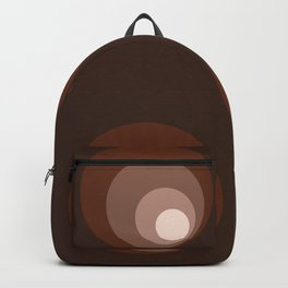 Retro Circles Brown Rust Taupe Cream Backpack