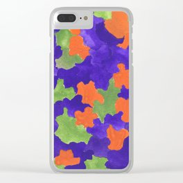 Deep Blue Orange Green    190112 Watercolor Abstract Painting Clear iPhone Case