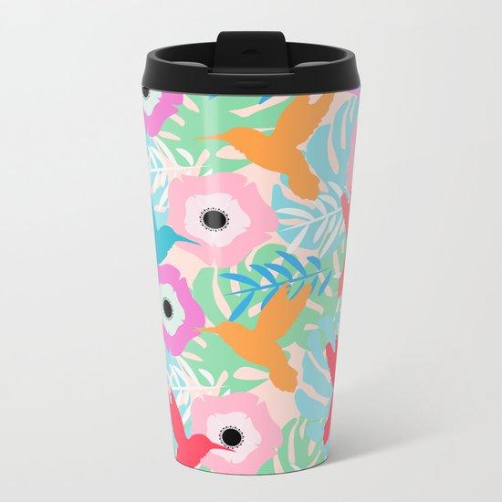 Flowers and hummingbirds Metal Travel Mug