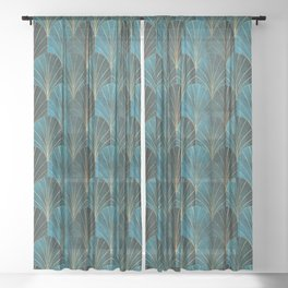 Art Deco Waterfalls // Ombre Teal Sheer Curtain