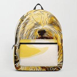 hairy havanese dog vector art gold yellow Backpack