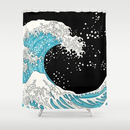 The Great Wave (night version) Shower Curtain