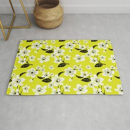 Light Yellow & White Sakura Cherry Tree Flower Blooms on Dark Yellow - Aloha Hawaiian Floral Pattern Rug