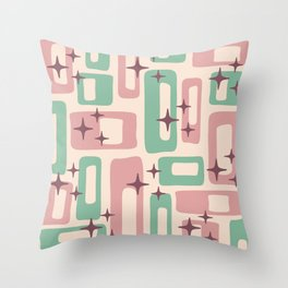 Retro Mid Century Modern Abstract Pattern 222 Dusty Rose and Pastel Green Throw Pillow