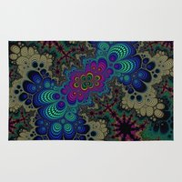 novelty Area & Throw Rugs featuring Peacock Fractal by Moody Muse