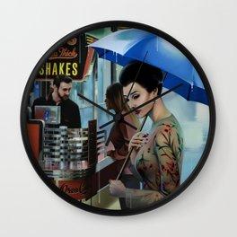 HER BLUE UMBRELLA Wall Clock