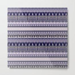 Bohemian Indigo Pattern, Ethnic Zigzag Print in Bleu Colours. Metal Print