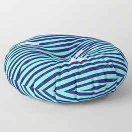 Origami boat on the blue sea Floor Pillow