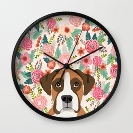 Boxer floral dog head cute pet portrait gifts for Boxers must haves Wall Clock