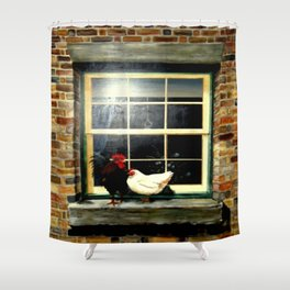 Rooster & Hen on a window Ledge Shower Curtain