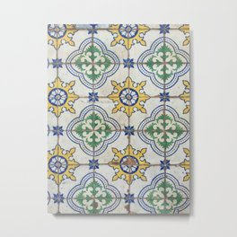 Painted Tiles - Green Yellow Blue Metal Print