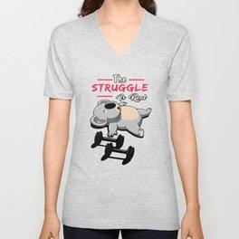 The Struggle Is Real - Koala Bear Sleeping Workout Gym graphic Unisex V-Neck