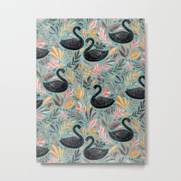 Bonny Black Swans with Autumn Leaves on Sage Metal Print