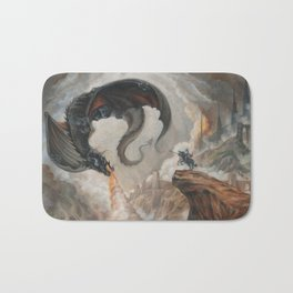 Black Battle Dragon Bath Mat