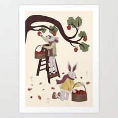 Autumn Apple Picking Art Print