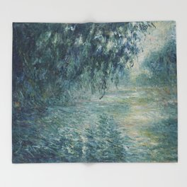 Morning on the Seine, Claude Monet Throw Blanket