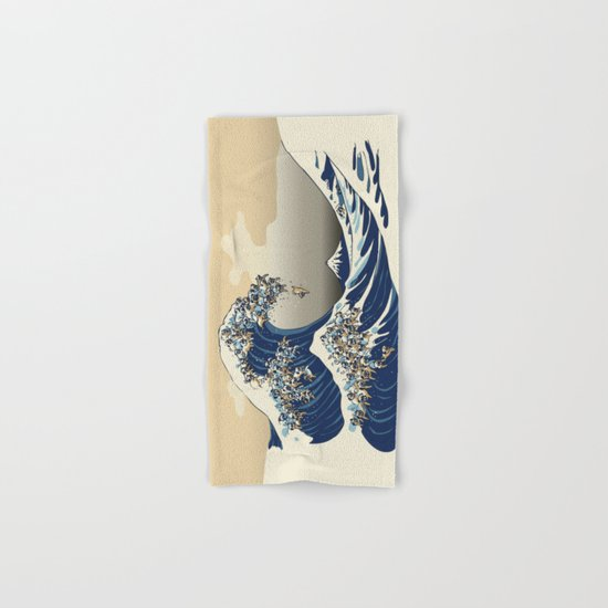 The Great Wave of Pugs Vanilla Sky Hand & Bath Towel