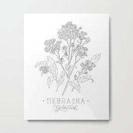 Nebraska Sketch Metal Print
