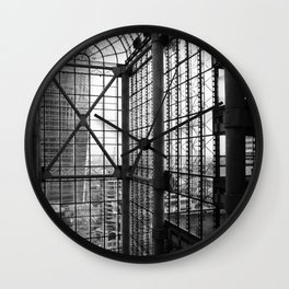 Lloyds London Atrium Glass & Steel Black and White Monochrome Photography Art Print Wall Clock