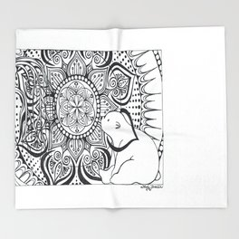 Polar Bear Mandala by Lady Lorelie Throw Blanket