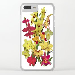 Orchids - Hot Colors! On white Clear iPhone Case