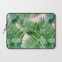 Green palm leaves on a light pink background. Laptop Sleeve