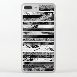 Black And White Layered Collage - Textured, mixed media Clear iPhone Case