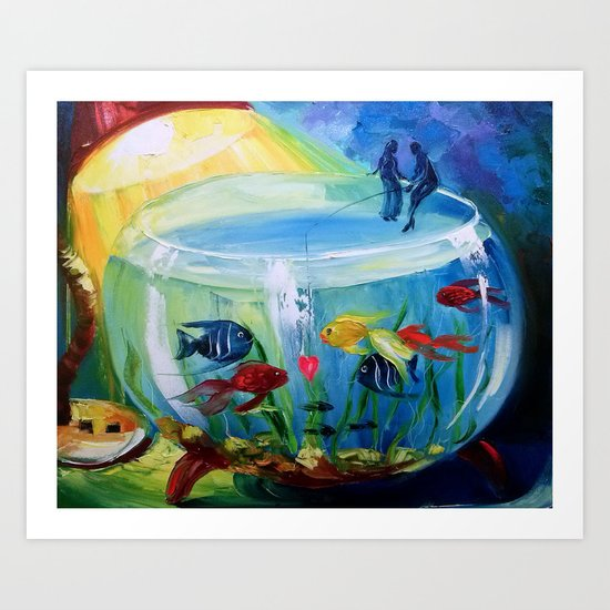 Catching fish in the tank Art Print