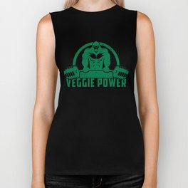 Veggie Power Vegan Muscle Gorilla - Funny Workout Quote Gift Biker Tank