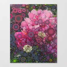 Pink Flowers at Twilight Abstract Canvas Print