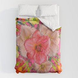 YELLOW PINK & CREAM DAYLILIES BLACK GARDEN Comforters