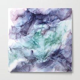 Growth- Abstract Botanical Fluid Art Painting Metal Print