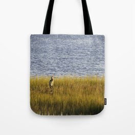 Blue Heron Was On Watch On The Golden Marshland Tote Bag