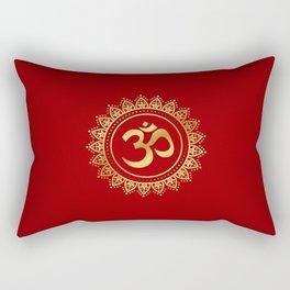Ohm Symbol Gold on Red Rectangular Pillow