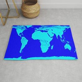 World Map Turquoise Blue Rug