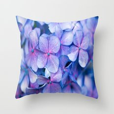 Hydrangea Flowers : Periwinkle Blue Lavender Pink Throw Pillow