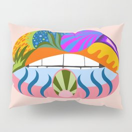 Lips with bold abstract patterns, retro pop art illustration Pillow Sham