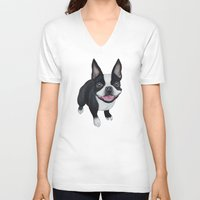 boston V-neck T-shirts featuring Boston Terrier by PaperTigress