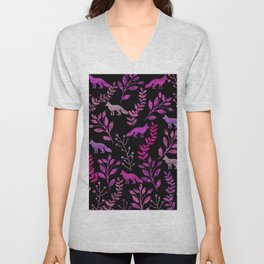 Watercolor Floral & Fox II Unisex V-Neck
