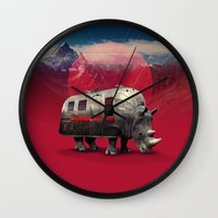rhino Wall Clocks featuring Rhino by Ali GULEC