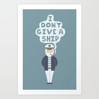 captain Art Prints featuring Indifferent Captain by Teo Zirinis