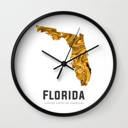 Florida - State Map Art - Abstract Map - Brown Wall Clock