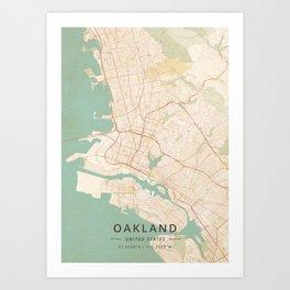 Oakland, United States - Vintage Map Kunstdrucke