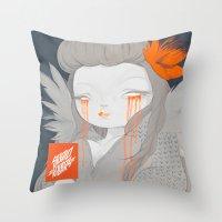 hawaiian Throw Pillows featuring Hawaiian Raven by STUDIOKILLERS