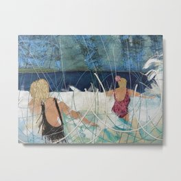 Playing in the surf at Burgh Island by Jackie Wills Metal Print
