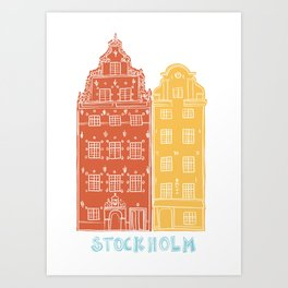 Stockholm old town - Gamla Stan facades Art Print