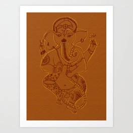 Ganesha Orange Art Print