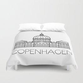 Marble Church Copenhagen Denmark Black and White Duvet Cover