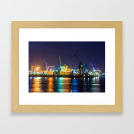 Port of Hamburg at night with colorful illumination Framed Art Print